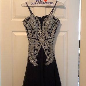 Navy prom with silver accents